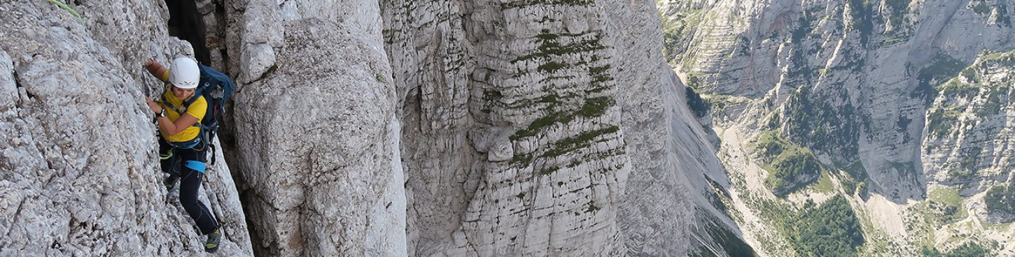 Long German route in Triglav north wall