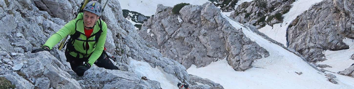 Winter Ascent of Triglav by the Slovene Route in Triglav North Face.